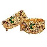 Zeneme Dancing Peacock Antique Gold Plated Bangle/Kada Set Jewellery For Women / Girls
