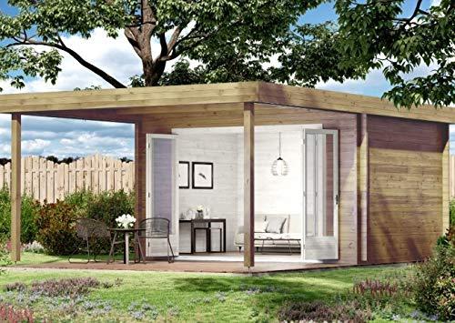 CARLSSON Holz Gartenhaus HOLSTEIN-40 - Blockbohlenhaus mit Boden - Wochenendhaus mit Schleppdach & 4-TLG. Falttür - Holzblockhaus ohne Imprägnierung
