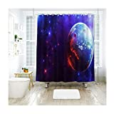 Amody Duschvorhang Purple Planet Bad Vorhang Durable wasserproof Bad Curtain Set Multicolor 200x180cm