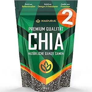 Naduria Premium ganze schwarze Chia Samen 2 x 500 Gramm
