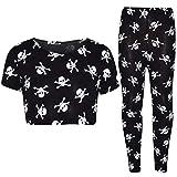 A2Z 4 Kids Kinder Mädchen Designer Schädel & Kreuz Knochen - Halloween Skull Crop Legging_9-10