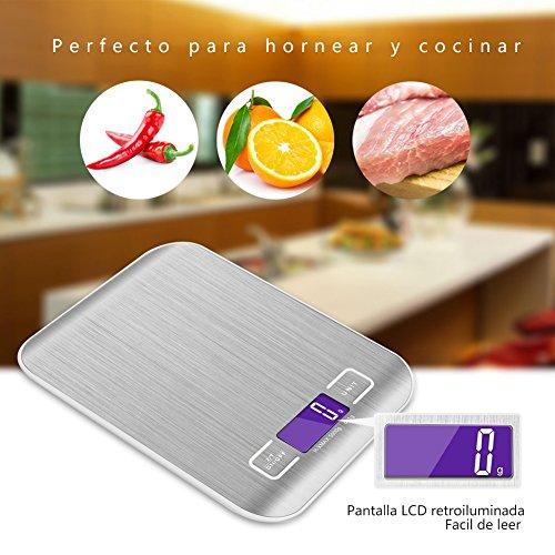 GPISEN Smart Digital Báscula con Pantalla LCD para Cocina de Acero Inoxidable,  5kg/11lbs,  Balanza de Alimentos Multifuncional, Color Plata, (2 Baterías Incluidas)