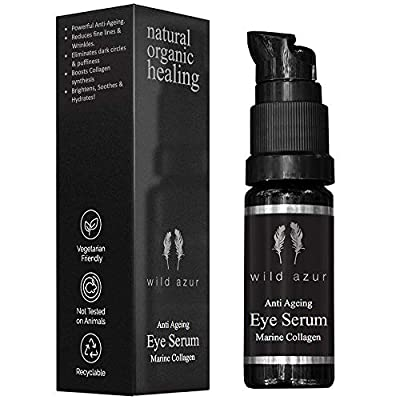 Organic Anti ageing Eye Serum - Marine Collagen, Aloe Vera & Hyaluronic acid. Hydrating eye gel to reduce crows feet, dark circles, puffy eyes & eye bags. Eye cream treatment for all types of skin.