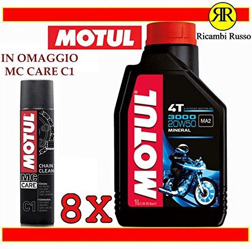 Olio motore moto Motul 3000 20w50 minerale litri 8 + OMAGGIO MC Care C1 Chain Clean