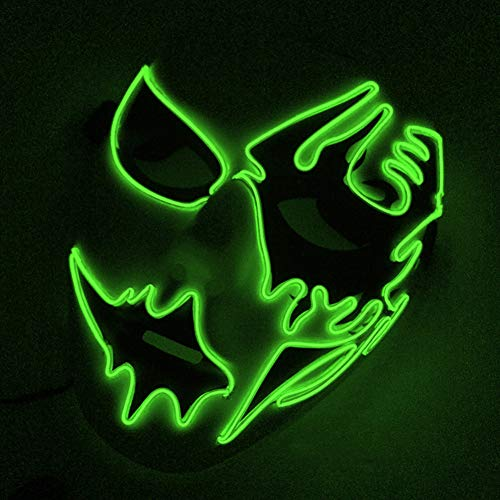 DERKOLY Halloween Cosplay Mask Frightening LED EL Wire Light Up Festival Makeup Party Fluorescent...