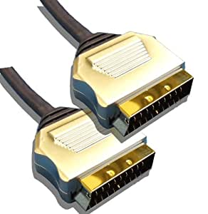 10 Metre Metal Plug, Gold Plated, OFC Scart Cable 10M Lead by Cable Mountain