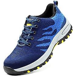 GUFANSI Chaussures de Sécurité Baskets Femme Homme Respirant Légère Chaussures de Randonnée Chaussures de Travail pour été de Plein air, 1-bleu, 44 EU