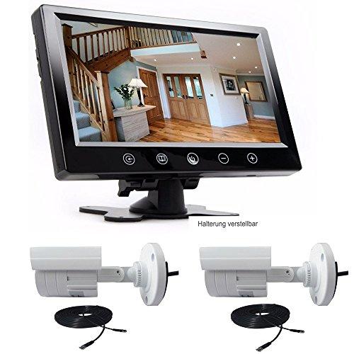 23 cm 9 Zoll Inch TFT LCD Video Überwachungsmonitor für Live Überwachung Überwachungsanlage Set und zwei Überwachungskameras 10 Meter Kabel mit zwei Videoeingängen YMPA UET-SET92
