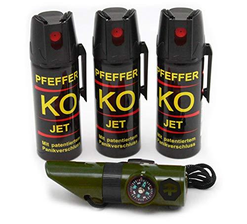 BALLISTOL Verteidigungsspray Pfeffer KO Jet 3 Dosen mit je 50 ml Pfefferspray bis zu 5 m Reichweite inkl. Signalpfeife 6in1