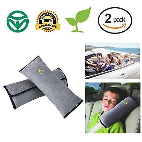 Soft Shoulder Pad Seat belt pad car pillow protect shoulder Support Neck for Children kid Cotton Soft Comfortable Adjustable vehicle car seat belt (2-Pack) (Grey)