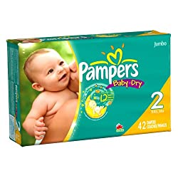 Pampers Baby Dry Diapers Jumbo Pack Size 2 42 Count (Pack of 2)