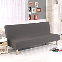 color sólido sin brazo sofá cubierta sofá cama sofá slipcover protector elástico spandex moderno sofá plegable simple sofá escudo futón cubierta por yunhigh - gris
