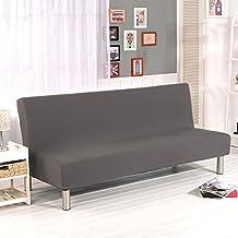 Fundas de sofá de color sólido sin reposabrazos, de tela poliéster elastano, protector para