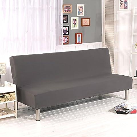 Couleur unie sans accoudoirs Canapé couvertures, Polyester Spandex Tissu stretch Housses places Canapé écran Compatible avec lit de canapé pliable sans accoudoirs