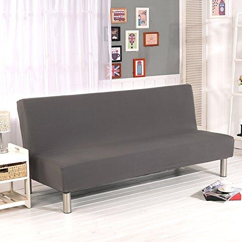 Fodera copridivano, tutto in uno: fodera protettiva per divano-letto pieghevole ed elasticizzata, senza braccioli, a tinta unita gray