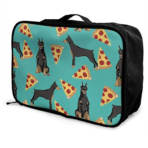 GepäckträgertaschenGepäck ReisetascheNovelty Gifts Doberman Pinscher Turquoise Travel Duffle Bags Large Carry on Luggage Bag Duffle Tote Bag for Weekend Overnight Trip (Bilder Doberman Pinscher)