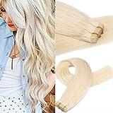Myfashionhair Bande En Extensions de Cheveux Humains Blonde 16 pouces 20 pcs 30 g Ensemble Soyeux Droite Peau Trame Réel Humain Remy Cheveux Morceaux