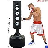 MAXSTRENGTH® Freistehender Boxsack, Sandsack, stehend, robust, für Boxen, Kickboxen, gemischte Kampfkünste (MMA), mit 6 Füßen