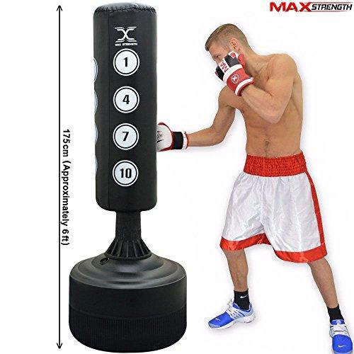 MAXSTRENGTH Freistehender Boxsack, Sandsack, stehend, robust, für Boxen, Kickboxen, gemischte Kampfkünste (MMA), mit 6 Füßen