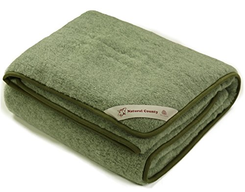 Schurwolle Merino Wolldecke 100% Decke Wohndecke Bettdecke Tagesdecke Wolle (ca. 180 x 200 cm, - Bettdecken Grüne