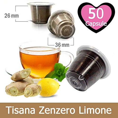 50 Capsule Tisana Infuso Zenzero e Limone Nespresso - Bevanda Solubile Compatibile con Macchina Caffè Nespresso