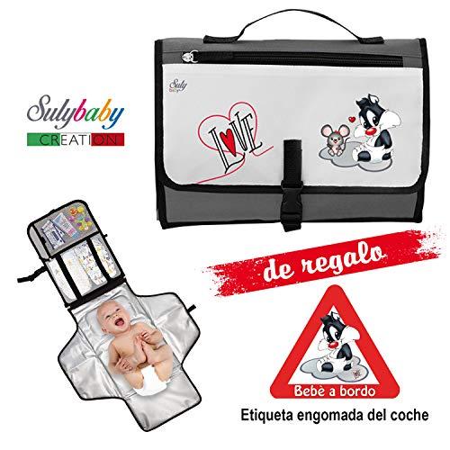Cambiador Portátil de Pañales para bebe Impermeable - Kit Cambiador Bebe Viaje - Completamente Acolchado...