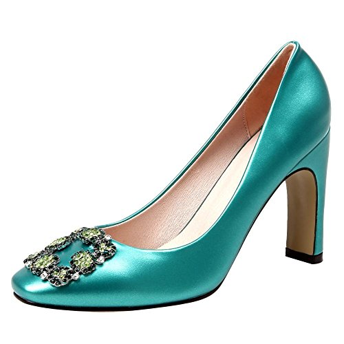 MissSaSa Donna Scarpe col Tacco Spicco Alto Pumps Elegante Verde
