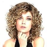 DANTB Perruque Synthétique Cheveux Nouveau Féminin Bruns Bouclés Ondulés Glamour Cosplay Party + Perruque Cap,Lightbrown