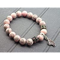 Rosa ricostituito perle e ciondoli a forma di penna con cristalli Swarovski color turchese bracciale