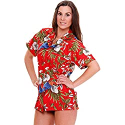 Funky Camisa Hawaiana, CherryParrot, red, M