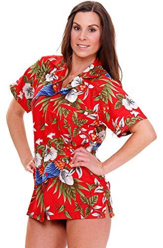 V.H.O. Funky Hawaiibluse, Hawaiihemd, Kurzarm, Kirschpapagei, Rot, M - Womens Hawaiian-t-shirt