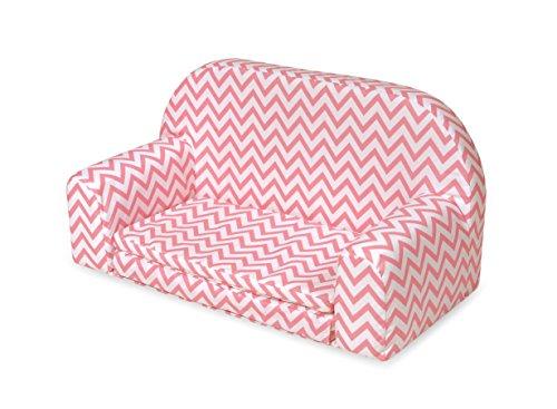 gepolsterten Puppe Sofa mit ausklappbares Bett–Pink Chevron
