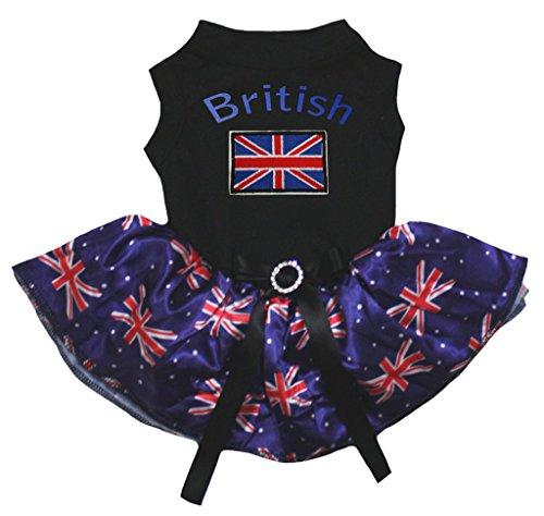petitebelle Puppy Kleidung Hund Kleid Schwarz Top UK Großbritannien Flagge Blau Tutu