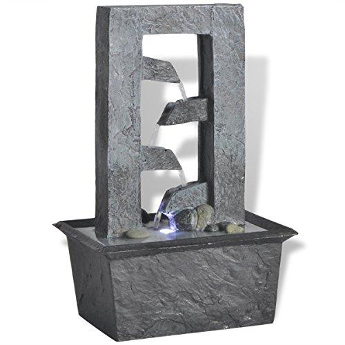 vidaXL Zimmerbrunnen Dekobrunnen Springbrunnen mit LED Beleuchtung Polyresin