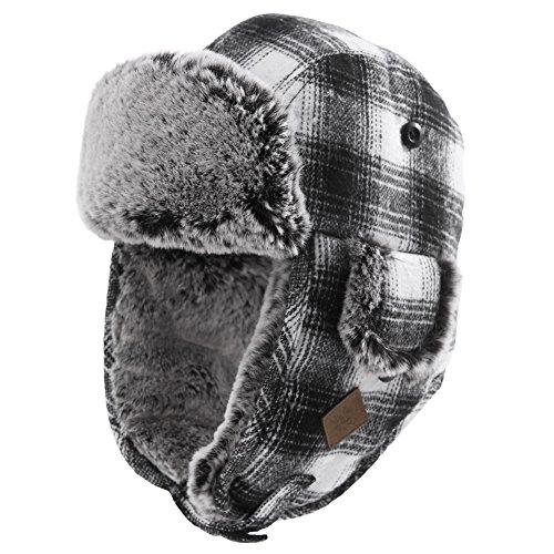 SIGGI Unisex warme Fliegermütze Winter Trappermütze mit Kunstfell Herren Schwarz-White L (White Bear Ohren)