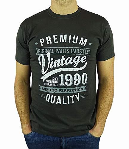My Generation Gifts Vintage Year - Aged to Perfection - 30 Cumpleaños Años - Regalo de Cumpleaños Camiseta para Hombre - Gris De Carbón M