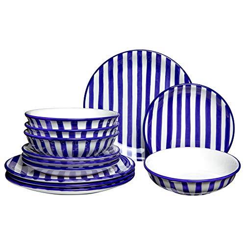 City to Cottage | Service à vaisselle pour quatre, douze pièces | à rayures bleu marine et blanches en céramique fait et peint à la main | assiettes plates, assiettes à dessert, bol