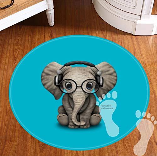 ROOMBA 2 Pack Badteppich Rund, viele sch?ne Runde Badteppiche zur Auswahl, hochwertige Qualit?t, sehr weich, schnelltrocknend, waschbar, 50 cm-Baby Elefant DJ mit Brille Kopfh?rer