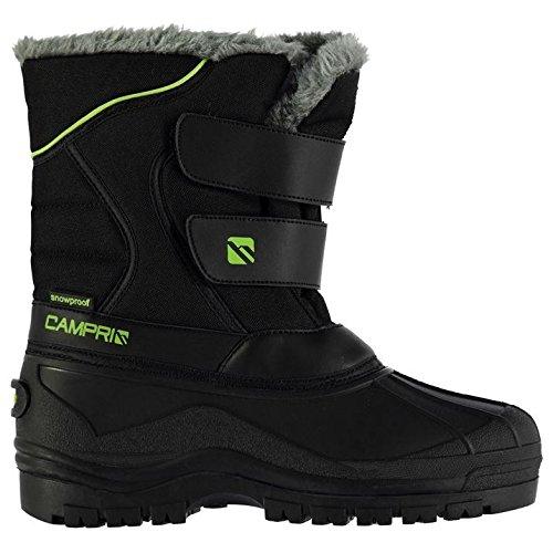 Campri Enfants Junior Chaussures Bottes Bottines Hiver Neige Chaud Casual Velcro Black/Green