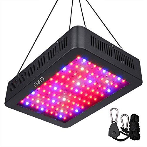 Niello 1000W LED Pflanzenlampe Doppel-10W-Chips LED Grow Light Vollem Spektrum LED Wachstumslicht 100 LEDs Pflanzenlicht Grow Lamp mit UV & IR und mit Rope Hanger für Zimmerpflanzen,Gemüse und Blumen