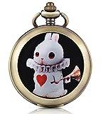 Infinito U dUlce Conejo Conejo Corazón Cuerda Manual Mecánica Reloj de bolsillo Fotos medallón Esfera Blanca Reloj Esqueleto Jersey Collar, ambos Cadenas
