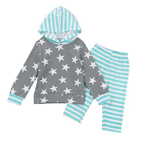 Bekleidung Longra Kleinkind Baby Mädchen Sports Kleidung Set mit Stern Druck Langarm Kapuzenpullover Sweatshirts Tops +Gestreift Hosen Babymode babykleidung(0-24Monate) (100CM 24Monate, Gray)
