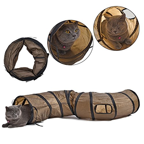 Pawz Road Collapsible Cat Tunnel Toys,Play Tube Kittens,Rabbits 25 * 120 cm Play House & Shelter to Keep Pet Entertained Braun