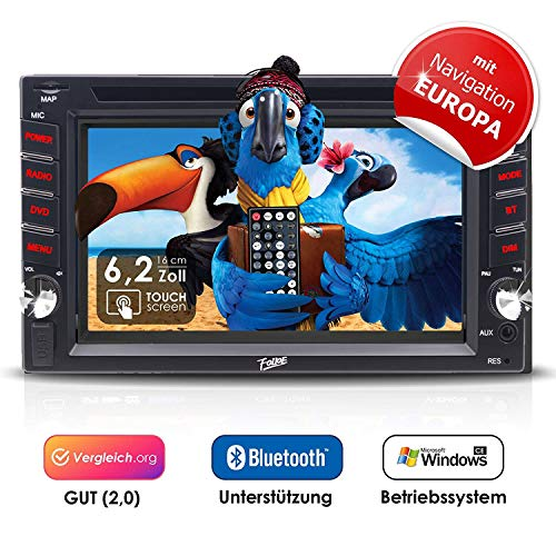 2DIN Autoradio FOIIOE mit GPS Navigation (Europa), Bluetooth, Touchscreen, DVD-Player und USB/SD-Funktion