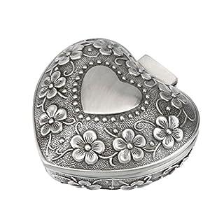 Ounona Schmuckdose aus Metall mit eingearbeiteten Rosenornamenten, herzförmiger Behälter, Schmuckkästchen, klassisch, Muttertagsgeschenk, für Frauen und Mädchen