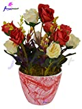 #10: Thefancymart Artificial flowers arrangement of Roses (size 8 inchs/20 cms) with Marble Finish round pot - 1213