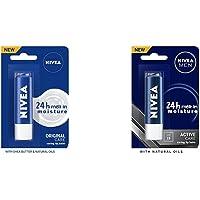 NIVEA Lip Balm, Original Care, 4.8g & NIVEA Men 24 H melt-in mpisture Active Care clearing Lip Balm, SPF 15, 4.8g