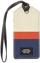 Jack Spade Mens Horizontal Stripe Luggage Tag, Natural/Orange/Navy, One Size