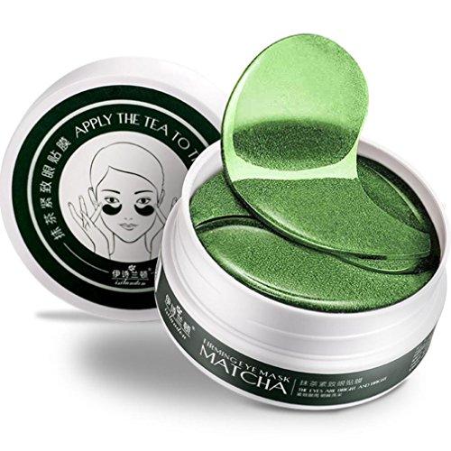 JIANGFU Matcha Augen Augenmaske,1Set 60 PC Großhandelsneues grünes Tee-Puder Gel-Kollagen-Augen-Schablonen-Masken-Blatt