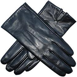 Guantes de mujer Jasmine Silk de auténtica piel de cordero con forro de seda, de color negro Negro negro M (18 cm- 19 cm)
